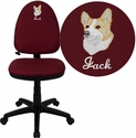 Embroidered Mid-Back Burgundy Fabric Multifunction Swivel Task Chair with Adjustable Lumbar Support