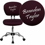 Embroidered Mid-Back Burgundy Mesh Swivel Task Chair with Chrome Base [H-2376-F-BY-EMB-GG]