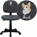 Embroidered Low Back Gray Fabric Swivel Task Chair