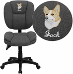 Embroidered Mid-Back Gray Fabric Multifunction Ergonomic Swivel Task Chair [GO-930F-GY-EMB-GG]