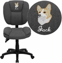 Embroidered Mid-Back Gray Fabric Multifunction Ergonomic Swivel Task Chair