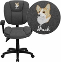 Embroidered Mid-Back Gray Fabric Multifunction Ergonomic Swivel Task Chair with Adjustable Arms