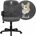 Embroidered Mid-Back Gray Fabric Executive Swivel Chair with Nylon Arms
