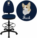 Embroidered Mid-Back Navy Blue Fabric Multifunction Drafting Chair with Adjustable Lumbar Support [WL-A654MG-NVY-D-EMB-GG]