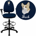Embroidered Mid-Back Navy Blue Fabric Multifunction Drafting Chair with Adjustable Lumbar Support and Adjustable Arms