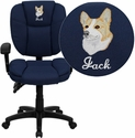 Embroidered Mid-Back Navy Blue Fabric Multifunction Ergonomic Swivel Task Chair with Adjustable Arms