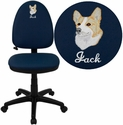 Embroidered Mid-Back Navy Blue Fabric Multifunction Swivel Task Chair with Adjustable Lumbar Support