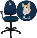 Embroidered Mid-Back Navy Blue Fabric Multifunction Swivel Task Chair with Adjustable Lumbar Support and Adjustable Arms