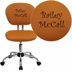 Embroidered Mid-Back Orange Mesh Swivel Task Chair with Chrome Base [H-2376-F-ORG-EMB-GG]