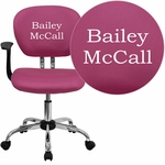Embroidered Mid-Back Pink Mesh Swivel Task Chair with Chrome Base and Arms [H-2376-F-PINK-ARMS-EMB-GG]
