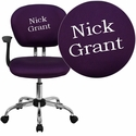 Embroidered Mid-Back Purple Mesh Swivel Task Chair with Chrome Base and Arms