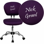 Embroidered Mid-Back Purple Mesh Swivel Task Chair with Chrome Base [H-2376-F-PUR-EMB-GG]