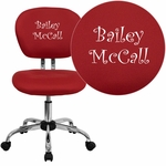 Embroidered Mid-Back Red Mesh Swivel Task Chair with Chrome Base [H-2376-F-RED-EMB-GG]