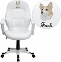 Embroidered Mid-Back White Leather Executive Swivel Chair with Arms