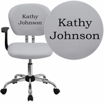 Embroidered Mid-Back White Mesh Swivel Task Chair with Chrome Base and Arms [H-2376-F-WHT-ARMS-EMB-GG]
