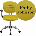 Embroidered Mid-Back Yellow Mesh Swivel Task Chair with Chrome Base and Arms
