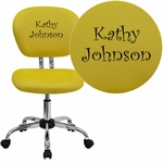 Embroidered Mid-Back Yellow Mesh Swivel Task Chair with Chrome Base [H-2376-F-YEL-EMB-GG]