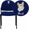 Embroidered Comfort Navy Fabric Stackable Steel Side Reception Chair
