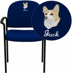 Embroidered Comfort Navy Fabric Stackable Steel Side Reception Chair with Arms [BT-516-1-NVY-EMB-GG]
