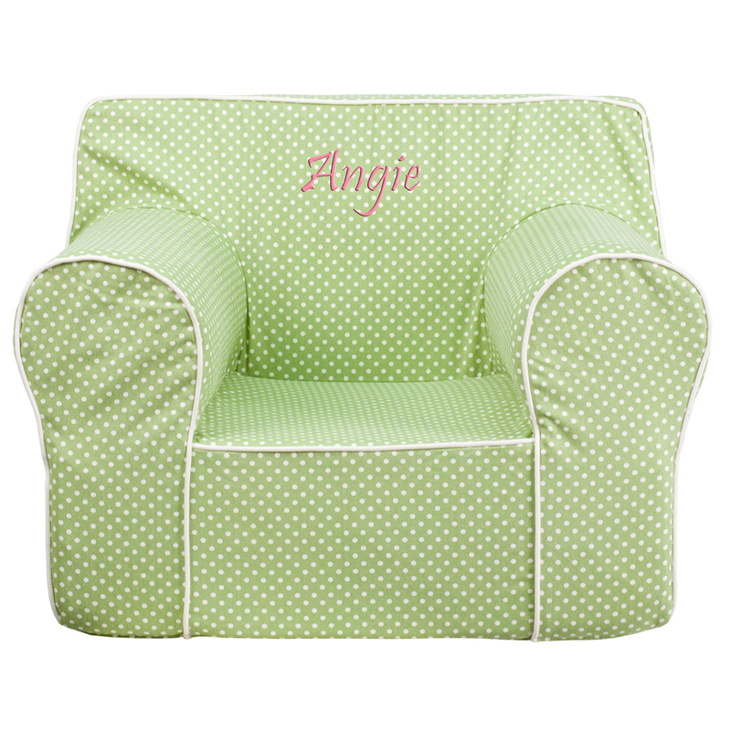 Personalized oversized green dot kids chair with white for Oversized kids chair