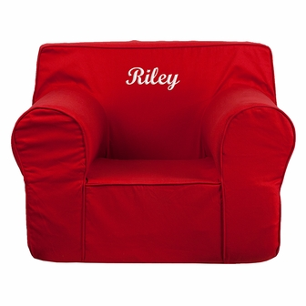 Personalized oversized solid red kids chair dg lge ch kid for Monogrammed kids chair