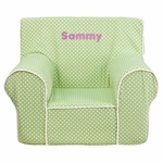 Personalized Small Green Dot Kids Chair with White Piping [DG-CH-KID-DOT-GRN-EMB-GG]