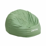 Personalized Small Solid Green Kids Bean Bag Chair [DG-BEAN-SMALL-SOLID-GRN-EMB-GG]