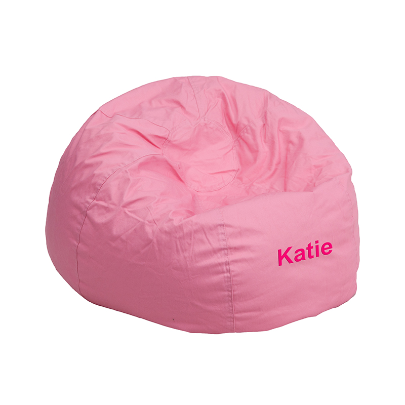 Personalized Small Solid Light Pink Kids Bean Bag Chair