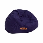 Personalized Small Solid Navy Blue Kids Bean Bag Chair [DG-BEAN-SMALL-SOLID-BL-EMB-GG]