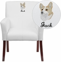 Embroidered White Leather Executive Side Reception Chair with Mahogany Legs