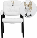 Embroidered White Leather Executive Side Reception Chair with Black Frame Finish