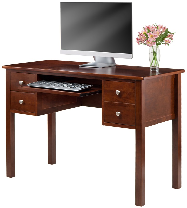 emmett writing desk with keyboard tray and file drawer walnut by winsome wood bizchaircom