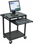 Endura Molded Thermoplastic Resin 2 Shelf Mobile Computer Workstation - Black - 24''W x 18''D x 33''H [LEMSS-B-FS-LUX]