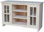Solid Wood 48''W X 30''H Entertainment Center with 2 Glass Doors and Adjustable Shelves - Unfinished [TV-34-FS-WHT]
