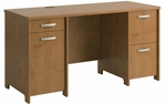 Envoy Wooden 57.9''W X 30.2''H Double Pedestal Desk with Dual Filing Drawers - Natural Cherry [PR76360K-FS-BHF]