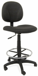 Ergo Pro Armless Drafting Chair with Height Adjustable Chrome Footring and Casters - Black [18409-FS-SDI]