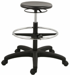 Poly Chairs 25'' W x 20'' D x 22.5'' H Adjustable Height Ring Controlled Stool - Black [SS-12501-ST-FS-EOF]
