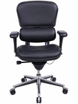 Ergohuman Series High Back 26.5'' W x 29'' D x 46'' H Adjustable Height Task Chair - Black Leather [LE10ERGLO-FS-EURO]