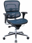 Ergohuman Series Mid Back 26.5'' W x 29'' D x 39.5'' H Adjustable Height Mesh Office Chair - Blue [ME8ERGLO-KM15-FS-EURO]