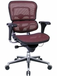 Ergohuman Series Mid Back 26.5'' W x 29'' D x 39.5'' H Adjustable Height Mesh Office Chair - Plum Red [ME8ERGLO-KM12-FS-EURO]