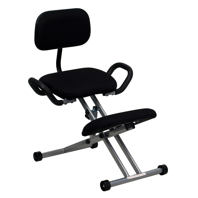 ergonomic kneeling chair with back and handles in black fabric, wl
