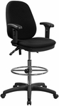 Black Multifunction Ergonomic Drafting Chair with Adjustable Foot Ring and Adjustable Arms [KC-B802M1KG-ARMS-GG]