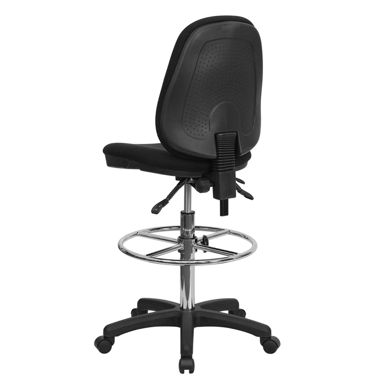 black ergonomic drafting chair with adjustable foot ring by flash furniture bizchaircom