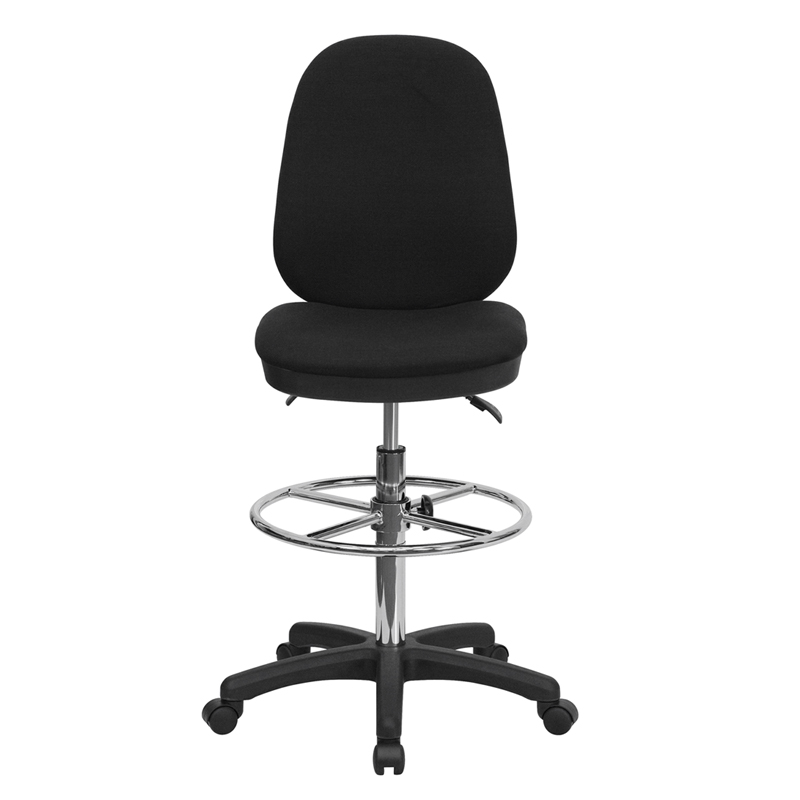 Black Multifunction Ergonomic Drafting Chair With Adjustable Foot Ring, KC B802M1KG GG  By Flash Furniture | BizChair.com