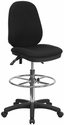 Black Multifunction Ergonomic Drafting Chair with Adjustable Foot Ring