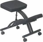 Work Smart Ergonomically Designed Knee Chair with Casters andMemory Foam - Black [KCM1420-FS-OS]