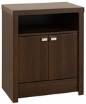 Series 9 Designer 2 Door 28''H Nightstand with Chrome Finished Metal Pulls - Espresso [EDNH-0502-1-FS-PP]