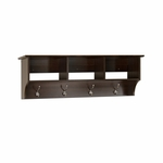 Fremont Entryway Shelf with 3 Open Storage Compartments and 4 Coat Hooks - Espresso [EEC-4816-FS-PP]