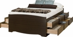 Captain's Full Size Platform Storage Bed with 12 Drawer Storage - Espresso [EBD-5612-K-FS-PP]