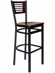 Espy Metal Frame Barstool - Slotted Wood Back and Wood Seat [2151BW-SB-BFMS]